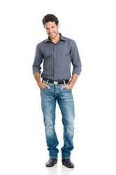 Full length portrait of happy handsome young man isolated on white background