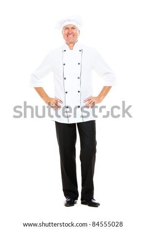 full- length portrait of happy senior cook. isolated on white background