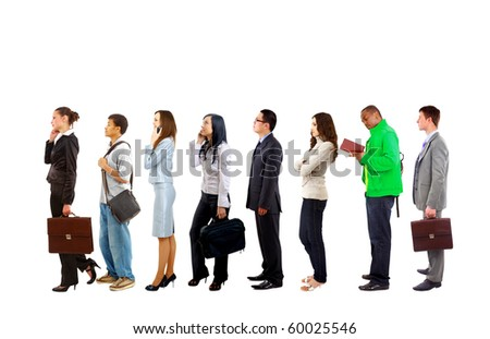 Full length portrait of men and women standing together in a line