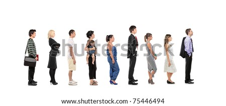 Full length portrait of men and women standing together in a line isolated on white background