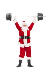 Full length portrait of Santa Claus lifting a heavy barbell isolated on white background