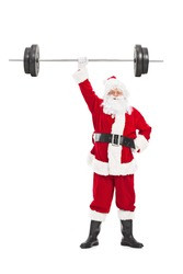 Full length portrait of Santa holding a heavy barbell in one hand isolated on white background