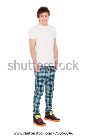 full-length portrait of smiley guy over white background