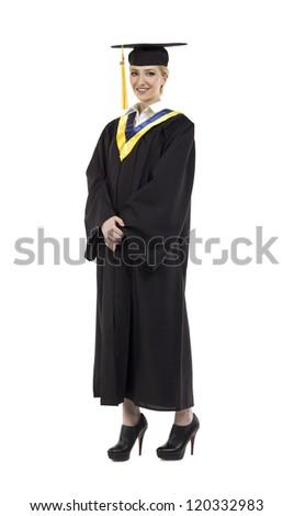 Full length portrait of smiling female graduate against white background