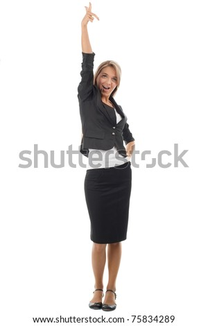 Full length portrait of successful young businesswoman celebrating her victory. Isolated on white background - stock photo