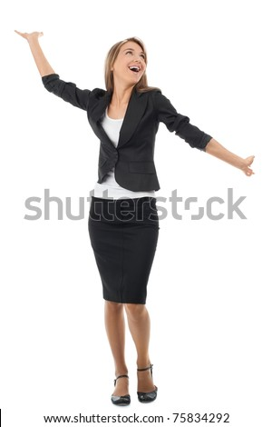Full length portrait of successful young businesswoman raising her arms in joy. Isolated on white background