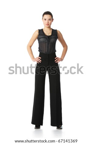 Full length portrait of tall beautiful young asian businesswoman standing, isolated on white background.