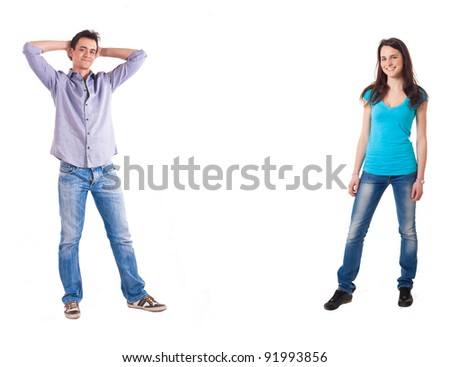 Full length portrait of two persons, isolated on white