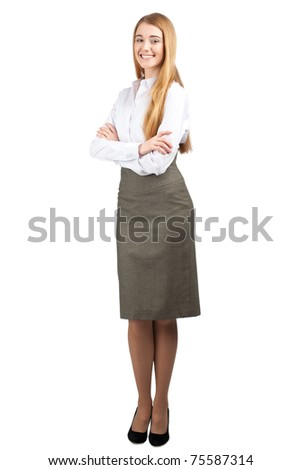 Full length portrait of young confident  businesswoman with crossed arms, isolated on white background