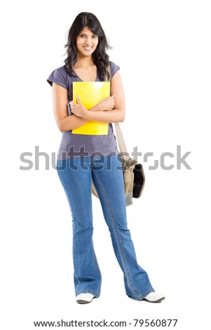 full length portrait of young female college student on white