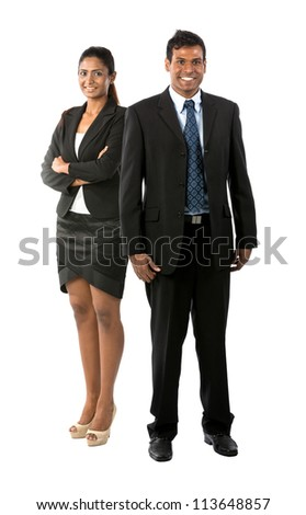 Full length Portrait Portrait of a happy Indian business man & woman. Isolated on a white background.