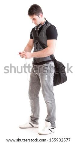 Full length portrait school boy phone isolated on white