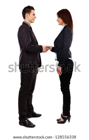 Full length pose of businesspeople shaking hands. Isolated on white background. Teamwork concept