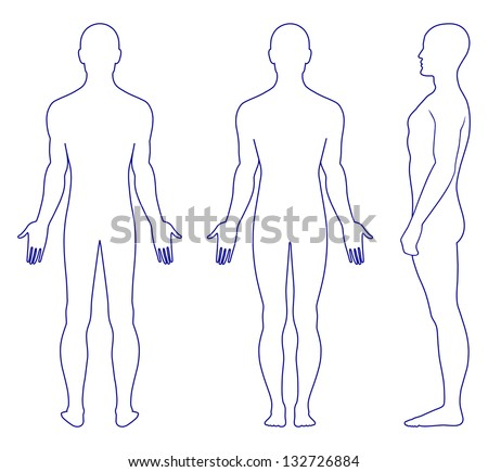Full length profile front back view of a standing naked man You can use this image for fashion design and etc