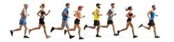 Full length profile shot men and women running a marathon isolated on white background