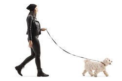 Full length profile shot of a young woman in leather jacket and pants walking a maltese poddle dog isolated on white background