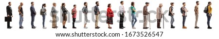 Full length profile shot of many young and older people waiting in line isolated on white background