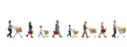 Full length profile shot of people with shopping carts and baskets in a queue bying food isolated on white background