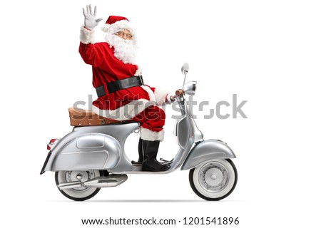 Full length profile shot of Santa Claus riding a vintage motorbike and waving isolated on white background #1201541896