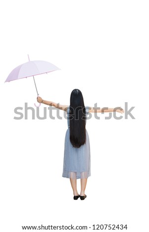 Full length, Rear view of young girl holding an umbrella, Isolated over white with clipping path