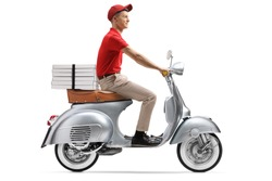 Full length shot of a delivery guy delivering pizza with a scooter isolated on white background