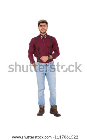 Full-length shot of a handsome man wearing a classic outfit, putting his hand in his pocket and smiling, isolated on white background #1117061522