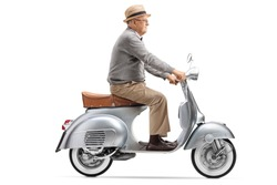 Full length shot of a senior gentleman riding a vintage scooter isolated on white background