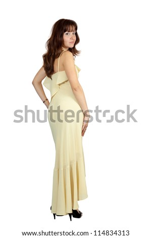full length shot of beauty girl in long dress over white background