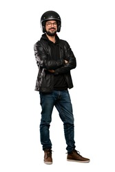 Full-length shot of Biker man with glasses and happy over isolated white background