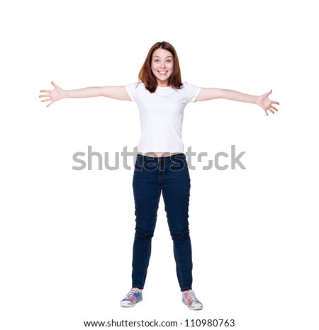 full length shot of happy young woman. isolated on white background