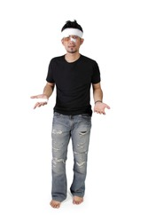 Full length shot of injured man with complaining hand gesture, isolated on white background