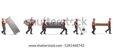 Full length shot of movers carrying furniture and appliences isolated on white background