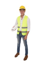 Full-length shot of standing engineer holding a wrapped billboard under the arm, isolated on a white background.