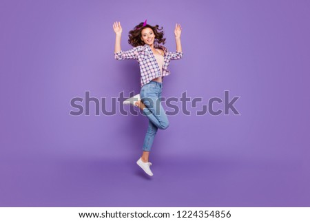 Full length size charming lovely cute sweet gorgeous nice lady with her modern brunette style stylish curly wave hair she raised hands up in action movement isolated on bright violet background