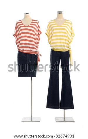 full-length two striped shirt on mannequin