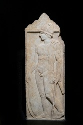 Full-length view of a classical funerary stele of a soldier from Pella.
