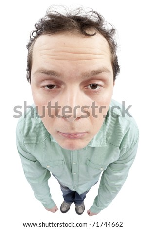 Full length view of a tired man. Fish-eye lens used. High resolution image taken in studio. Isolated on pure white background.
