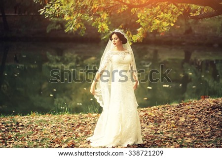 Full length view of one beautiful sensual young brunette bride in long white wedding dress and veil standing near river in autumn leaves outdoor on natural background, horizontal picture
