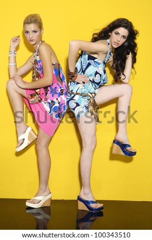 Full length Vogue style two fashion model on light background