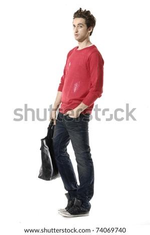 Full length young Casual man walking posing in the studio