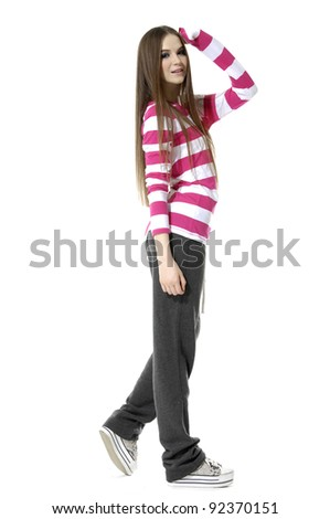 Full length young girl with long straight hair