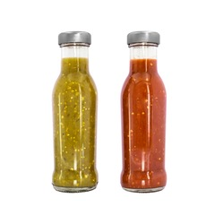 full liquid green sauce and red sauce no label brilliant transparent bottle silver metallic cap mexican origin glass container for restaurants retail and little business piquant tangy peppery tasty