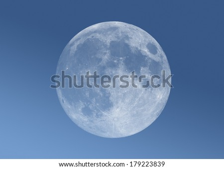 Full Moon a blue gradient background.