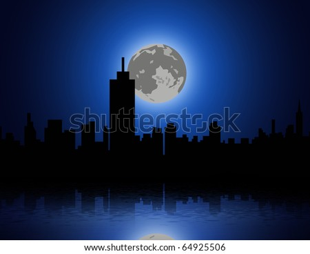 full moon and a city