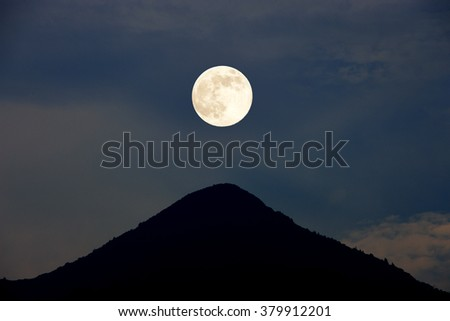 full moon and Mountain