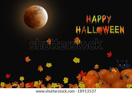 full moon and pumpkins