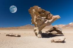Full moon and   Stone rock formation (Arbol de piedra),  Bolivia