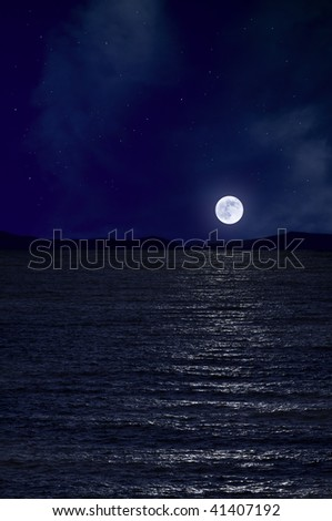 Full moon and the sea