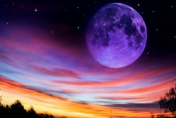 Full moon background . Dramatic Nighttime Clouds and Sky With Large Full Moon