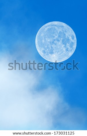 Full Moon behind the clouds - sharp details on the surface.